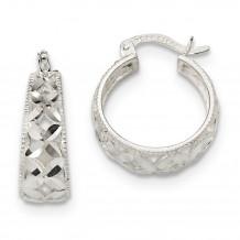 Quality Gold Sterling Silver Open Diamond Cut Hoop Earrings - QE13243