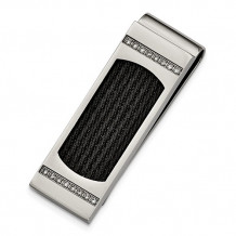 Chisel Stainless Steel Polished Black IP-Plated Wire With CZs Money Clip - SRM146