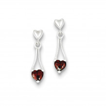 Quality Gold Sterling Silver Polished Garnet Heart Post Dangle Earrings - QE9431