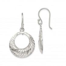 Quality Gold Sterling Silver Diamond-cut Dangle Hoops Earrings - QE14803