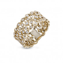 Zeghani 14k Yellow Gold Diamond Open Floral Fashion Ring