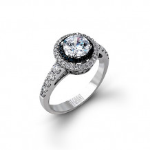 Zeghani 14k White & Black Gold Diamond Engagement Ring