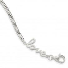 Quality Gold Sterling Silver LOVE Bracelet - QG3957-7.5