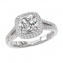 Romance 18k White Gold Halo Semi-Mount Diamond Engagement Ring