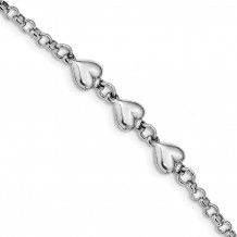 Quality Gold Sterling Silver Rhodium Plated Polished Triple Heart Charm Bracelet - QG4596-7