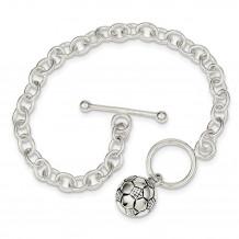 Quality Gold Sterling Silver Soccer Ball Bracelet - QG2187-7.75