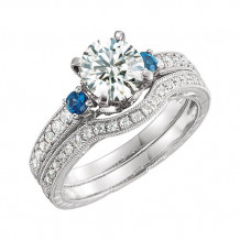 Stuller 14k White Gold Blue Sapphire and Diamond Semi-mounting Engagement Ring