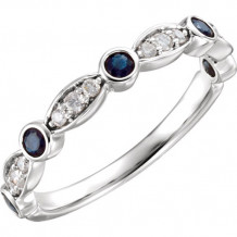 14k White Gold Stuller Diamond and Sapphire Stackable Ring
