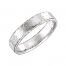 Stuller 14k White Gold Flat Milgrain Comfort Fit Satin & Hammer Finish Wedding Band