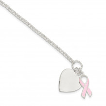 Quality Gold Sterling Silver Fancy Heart with Pink Ribbon Bracelet - QG2171-7.5