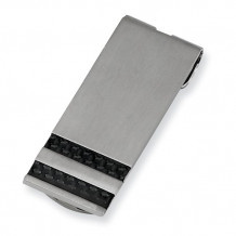 Chisel Stainless Steel Brushed Black Carbon Fiber Money Clip - SRM125