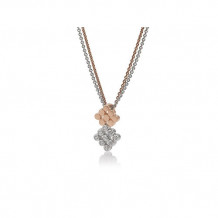 14k Two Tone Gold Breuning Diamond Pendant
