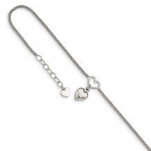 Quality Gold Sterling Silver Cabled Heart Dangle Charm with 1in ext Anklet - QG4794-9