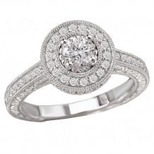 14k White Gold Halo Semi-Mount Diamond Engagement Ring