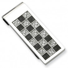 Chisel Stainless Steel Polished Black And Grey Carbon Fiber Money Clip - SRM134