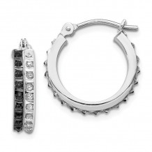 Quality Gold 14k White Gold Diamond Fascination Diamond Round Hinged Hoop Earrings - DF253