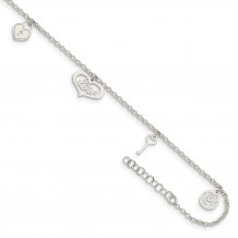 Quality Gold Sterling Silver Love Themed Dangles Anklet - QG4729-9