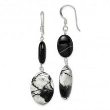 Quality Gold Sterling Silver Black Sardonyx & Zebra Jasper Dangle Earrings - QE5977