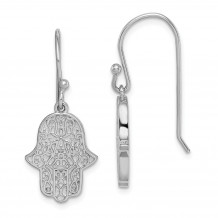 Quality Gold Sterling Silver Rhodium-plated Filigree Hamsa Dangle Hook Earrings - QE15244