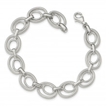Quality Gold Sterling Silver Polished And Textured Link Bracelet - QG3877-8