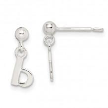 Quality Gold Sterling Silver Polished B Dangle Post Earrings - QE6885B