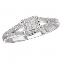 14k White Gold Halo Complete Diamond Engagement Ring