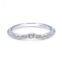 Gabriel & Co Vintage Platinum Curved Diamond Wedding Band