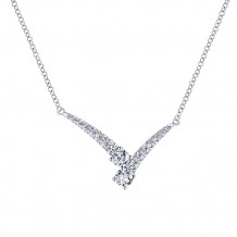 Gabriel & Co. 14k White Gold V Shaped Diamond Necklace