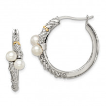 Quality Gold Sterling Silver 14k Polished White Pearl Hoop Earrings - QTC1536