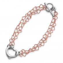 Quality Gold Sterling Silver & Rose Vermeil Polished Fancy Heart Bracelet - QG2975-7.25