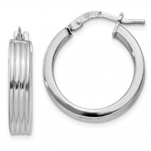 Quality Gold Sterling Silver Rhodium-plated Grooved Hoop Earrings - QE11537