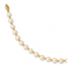 Quality Gold 14K White Near Round FW Cultured Pearl Bead Bracelet - XF740-7