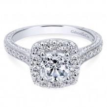 Gabriel & Co. 14k White Gold Cushion Cut Halo Engagement Ring