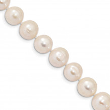 Quality Gold Sterling Silver Rhodium  10-11mm White FW Cultured Pearl Bracelet - QH4828-7.25