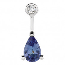 Stuller 14k White Gold Tanzanite & .025ct Diamond Pendant