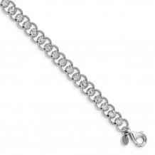 Quality Gold Sterling Silver Rhodium-plated Diamond-cut Beads & Circles Bracelet - QG4819-7.5