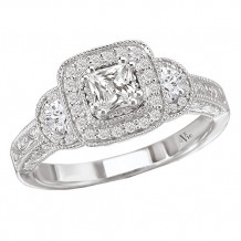 14k White Gold Halo Semi-Mount Diamond Engagement Ring