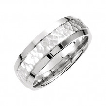 Stuller 14k White Gold Comfort-Fit Carved Hammer Men's Wedding Band