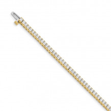 Quality Gold 14k Yellow Gold 2mm Princess 4ct Diamond Tennis Bracelet - X10022