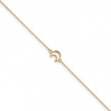 Quality Gold 14k Gold Textured and Polished Moon  Anklet - ANK274-10