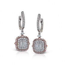 Zeghani 14k White & Rose Gold Diamond Earrings