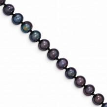 Quality Gold 14k Black Near Round Freshwater Cultured Pearl Bracelet - BPN060-7.5