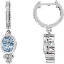 Stuller 14k White Gold Aquamarine and 1/6ct Diamond Earrings