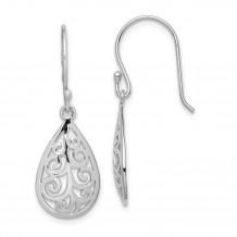Quality Gold Sterling Silver Rhodium-plated Filigree Teardrop Dangle Earrings - QE15190
