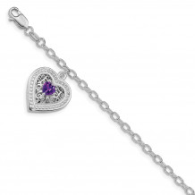 Quality Gold Sterling Silver Rhodium-plated Purple CZ Heart Link Bracelet - QX979CZ