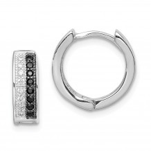 Quality Gold Sterling Silver Rhodium-plated White and Black CZ Hinged Hoop Earrings - QE9255
