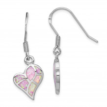 Quality Gold Sterling Silver Rhodium-plated  Pink Opal Inlay Heart Dangle Earring - QE14077