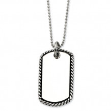Chisel Stainless Steel Twisted Rope Edge Dog Tag Pendant Necklace - SRN450-24