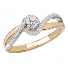 14k Two-Tone White & Yellow Gold Complete Diamond Engagement Ring