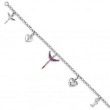 Quality Gold Sterling Silver Lavaggi Rhodium-plated Enamel Flag Angel Charm Bracelet - QG5081-7.25